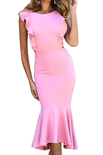(Almaree Women's Oversized Open Back Fishtail Hem Club Midi Dress Ruffle Gown Pink XL )