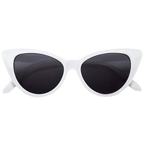 (Cat Eye Vintage White Frame Smoke Lens)