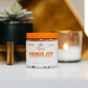 Genius Joy - Serotonin Mood Booster for Anxiety Relief, Wellness & Brain Support, Nootropic Dopamine Stack w/Sam-e, Panax Ginseng & L-Theanine – Natural Anti Stress & Herbal Calm, 100 veggie pills 4