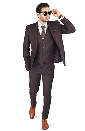 Slim Fit Men Suit Brown 2 Button Notch Lapel AZAR 4030-15 (38 Regular 32 Waist 32 Length, Brown with Vest 3 Piece) ()