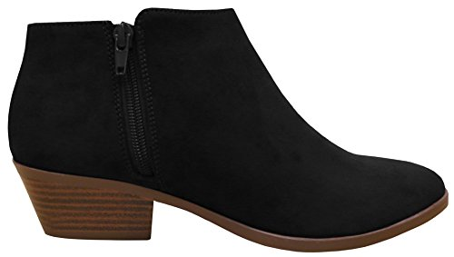 Amazon.com   Cambridge Select Women's Closed Round Toe Stacked Heel Western  Ankle Bootie   Ankle & Bootie