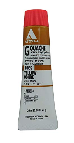 Holbein Acryla Gouache Artists Acrylic Polymer Emulsion, 20ml Yellow Ochre (D039)