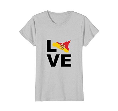 Womens Love Sicily Shirt Sicilian Pride Map Flag T Shirt XL Silver (Sicilian Unisex T-shirt)
