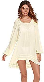 9bb5e29a5b212 Ekouaer Beach Cover Up Bikini Swimsuit Cover Up Robe De Plage Beach Wear  Long Sleeve Swimwear Bathing Suit Cover Up Color White Size L: Amazon.in:  Beauty