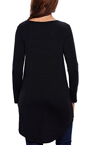 Tops de manga larga con volantes suéter camisa sudadera mujer blusas Black