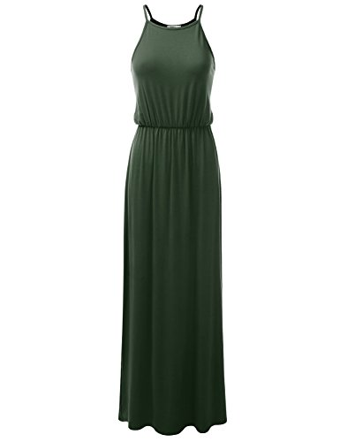 Doublju Stretchy Side Slit Halter Neck Maxi Dress for Women with Plus Size (Made in USA) ArmyGreen Small ()