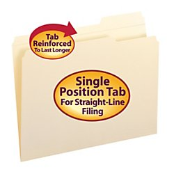 Right File - Smead File Folder, Reinforced 1/3-Cut Tab Right Position, Letter Size, Manila, 100 Per Box (10337)