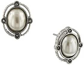 Silver-Tone Simulated Pearl and Marcasite Stud Earrings