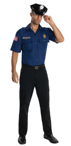 Rubie's Costume Heroes And Hombres Police Uniform Shirt And Hat Costume, Blue, X-Large (Easy Halloween Costumes Men)