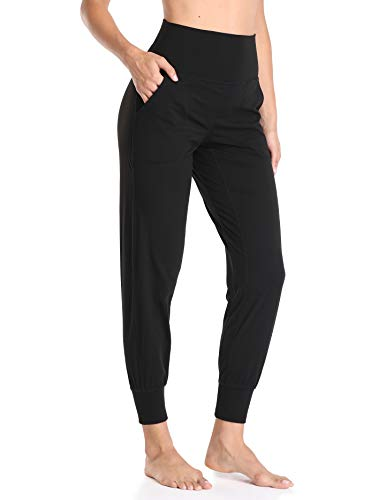 Colorfulkoala Women's High Waisted Fitted Joggers (S, Black)