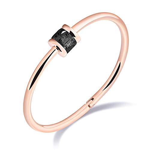 HongChang Women's Bangle Bracelets,Stainless Steel Cuff Bracelet Girls Charm Bangle with Glass Crystal Gift for Mom,Friends,Lover (Black)