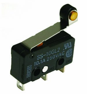 NTE Electronics 54-416 Subminiature Snap Action Switch, SPDT Circuit, 55 g Operating Force, Hinge Roller Lever Actuator, Solder Terminals, 10 Amp, 125V