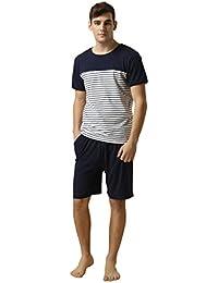 LEMONMOON Men's Cotton Classic Striped Top with Lounge Shorts Pajama 2 Piece Set