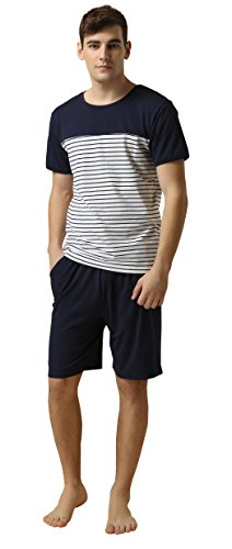 Suntasty Men's Summer Sleepwear Lounge Set Stripe Short Sleeve Pajamas Top with Solid Shorts Blue L ()