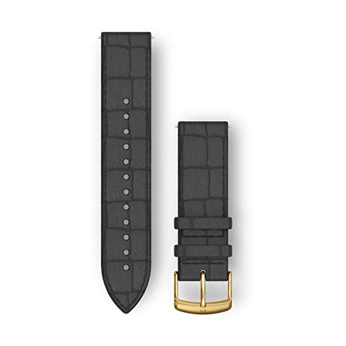Garmin Quick Release Band, 20mm, Black Embossed Italian Leather with 24K Gold PVD Hardware