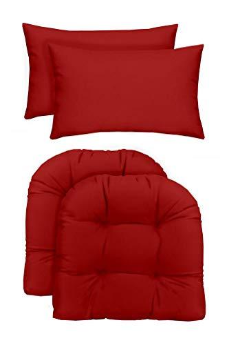RSH Dcor Indoor/Outdoor - 2 U-Shape Wicker Chair Cushions & Bonus Lumbar/Throw Pillows (2 (19