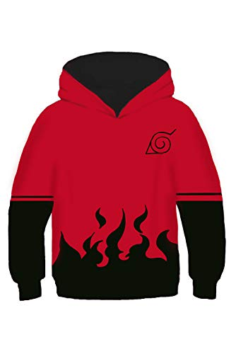 Obtai Kids Toddler Naruto Uchiha Itachi Kakashi Hoodies Pullover Sasuke Jacket Costume Sweatshirt (XS/4T-5T, Red) (Sasuke Hoodie Jacket)