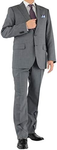 SUIT-DEPOT 2ツボタン レギュラーツーパンツスーツ ワンタックパンツ グレー ストライプ 洗えるパンツ ウォッシャブル機能 1R6961-24