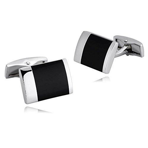 KnSam Stainless Steel Silver Black Agate Gemstone Rectangle Cufflinks for Mens Shirt Stud