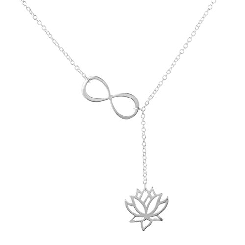 Lotus Flower Infinity Necklace Origami Charm Love Pendant for Women Vintage Hollow Jewelry Silver Tone