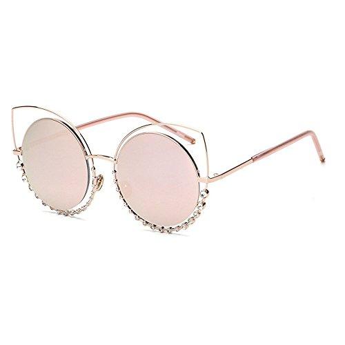 MINCL/Women Cat eye Metal Frame Round Lens Western Bling Ladies Sunglasses (gold/pink, - Sunglasses Cat Eye Bling