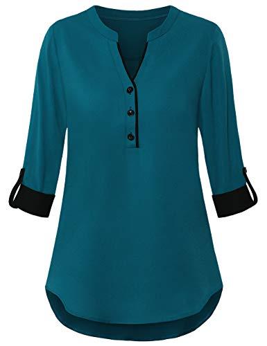 FANSIC Women V Neck 3/4 Roll Sleeve High Low Hem Top Button Down Chiffon Blouse Dark Cyan XL