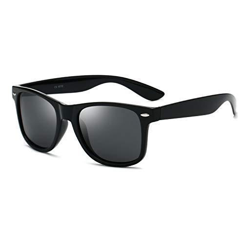(THBRO Polarized Sunglasses Classic Trend Retro for Men and Women Driving Fishing Uv400 (Black Grey))