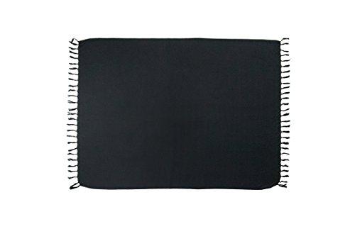 manumar Mujer sarong   pareo Toalla de playa   ligero de wickel–Toalla con flecos borlas negro largo