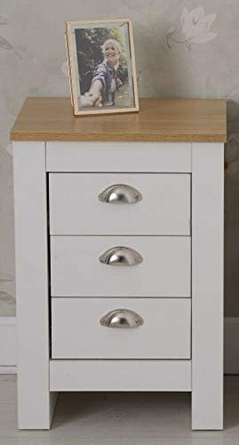 Furnituremaxi Country Style Bedside Table 3 Drawer Cabinet Storage Unit Bedroom Furniture White