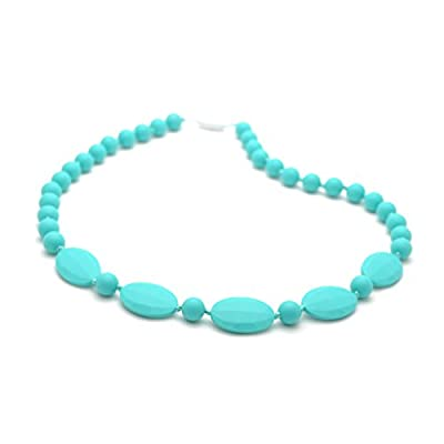 Bitey Beads Silicone Chewable Teething Nursing Necklace 32'' (Turquoise) : Baby