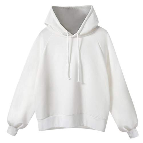 Camicia Lunga Maglione Donna Con Pullover Elegante Donne Kword Manica Sciolto Cappuccio Felpa Bianco Camicetta Hooded HZq8xzI