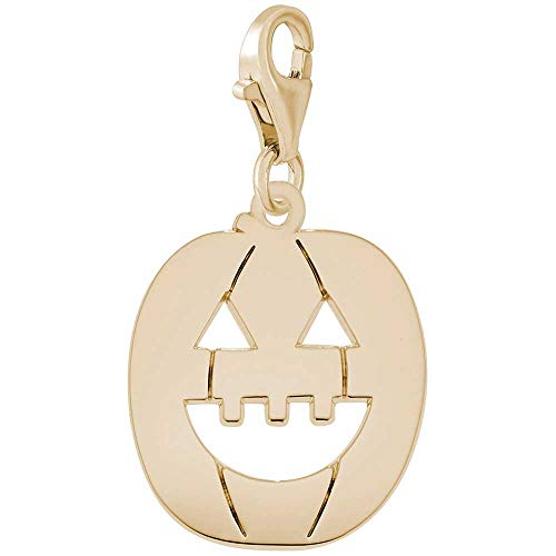 Rembrandt Charms Jack-O-Lantern Charm with Lobster Clasp, 14k Yellow Gold ()