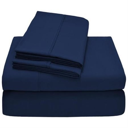 (Full, Navy Blue) 600 Thread Count Solid Pattern 38cm Deep Pocket 100% Egyptian Cotton 4 Piece Sheet Set FULL Size Navy Blue Colour B01M635F4I フル|ネイビーブルー ネイビーブルー フル
