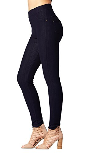 (Premium Jeggings - Denim Leggings - Cotton Stretch Blend - Full Length Indigo Blue -)