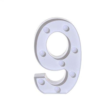 0-9 LED Digital Zahlen beleuchtet Buchstaben Schild für Hochzeit, Geburtstag, Party, batteriebetrieben, Weihnachts-Nachtlicht, Heimbar YMCHE