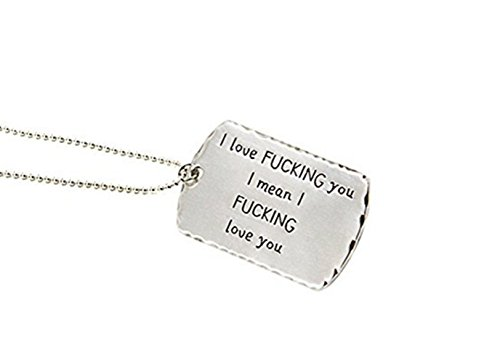 LAOFU 925 Sterling Silver I love you Lettering Tag Valentine's Day Key Chain (Necklace)