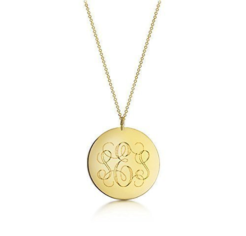 c6c1e3fc532b6a Amazon.com: Monogram Necklace - Gold Large Pendant - Personalized Initial  Engraved Pendant Necklace - Custom Gift: Handmade