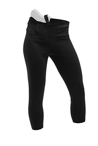 ConcealmentClothes Women's Concealed Carry Gun Holster 3/4 Leggings - Black - Medium
