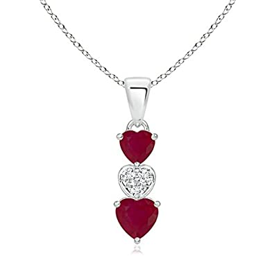 273278a0e Amazon.com: Dangling Ruby and Diamond Triple Heart Pendant in Platinum (5mm  Ruby): Jewelry