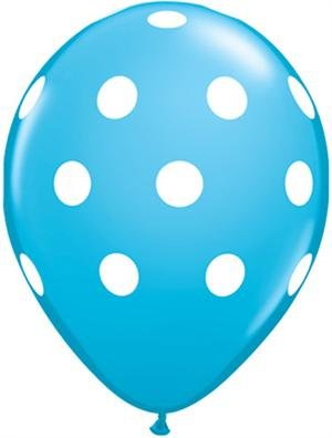 Balloons (10 Pack) - 12 Inch Inflatable Latex Boy Baby Shower Balloons, Aqua Birthday Party Decorations, Polka Dot Sea Sky Blue Wedding Supplies ()