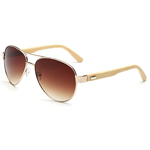 VeBrellen Men's Sunglasses Bamboo Wood Arms Classic Mirrored Aviator Sunglasses For Men & Women (Gold Frame With Brown Lens, - For Used Sunglasses