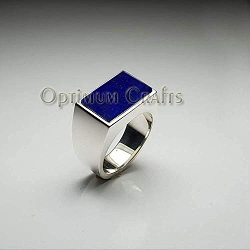 Natural Deep Blue Lapis Lazuli Ring, Solid 925 Silver Ring, Genuine Gemstone Jewelry, Flat Rectangle Gemstone Ring, Handmade Ring, Mans Statement Ring, Wide Band Ring, Gift for Husband