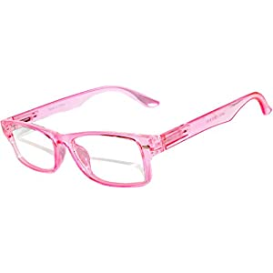 Narrow Retro Fashion Style Rectangular Pink Frame Clear Lens Eyeglasses