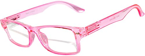 Narrow Retro Fashion Style Rectangular Pink Frame Clear Lens Eyeglasses ()