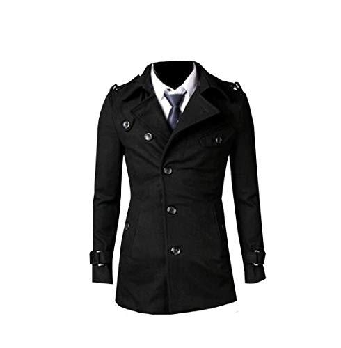 Black Collar Long Woolen MogogoMen Coat Jacket Fit Turn Down Tailored Mid qqpIZw