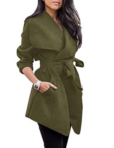 Colore Giaccone Manica Bavero Outerwear Moda Fit Cappotto Invernali Armygreen Autunno Vintage Donna Eleganti Inclusa Cintura Grazioso Slim Giacca Trench Calda Lunga Puro 6TnvqW8
