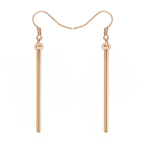 MANZHEN Gold Silver Fashion Thin Lever Back Dangle Earrings Bar Earrings Jewelry for Women Girls(Stick rose gold) Gold Stick Earrings