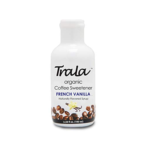 TraLa Certified Organic Coffee Syrup Sweetener Keto, Vegan & Kosher For Health Conscious Coffee Lovers- Subtly Sweet, Low Calorie Healthy Sugar Substitute- No Bitter Aftertaste French Vanilla 1 Bottle