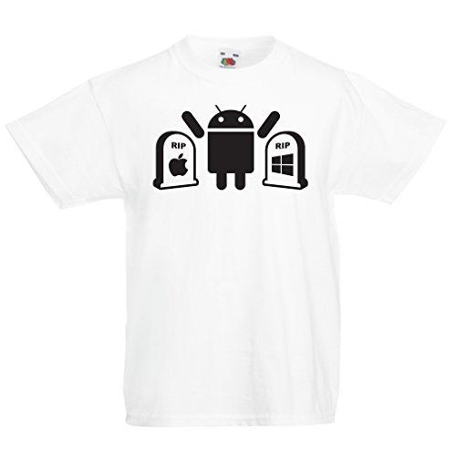 lepni.me Camisas para niños El Ganador es Android - Regalo para los fanáticos de la tecnología (7-8 Years Blanco Negro)