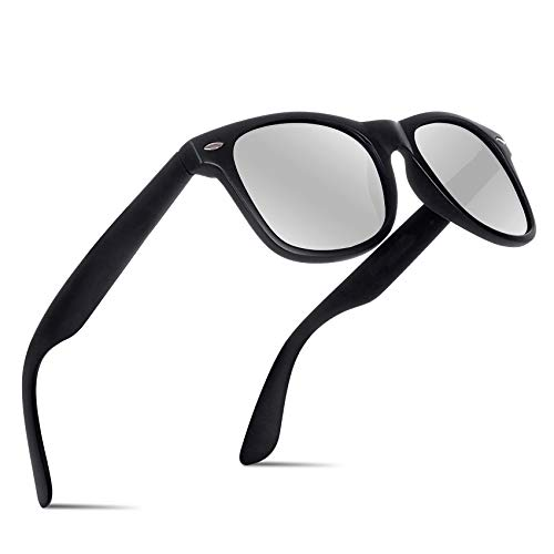 (Polarized Sunglasses For Men-BIIII Women Driving Fishing Vintage UV400 Mirror Sun Glasses B0001(Matte/Silver))